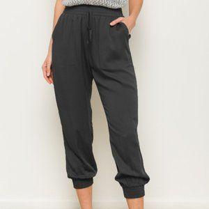 Black Elastic Waist Jogger Pants